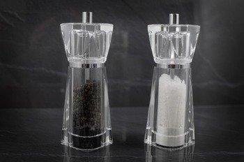2 młynki Krypton 14,5cm do soli i pieprzu (wypełnione)
