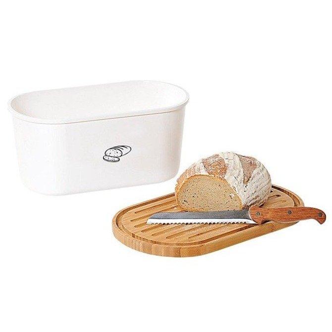Duży chlebak KESPER z deską do krojenia Biały