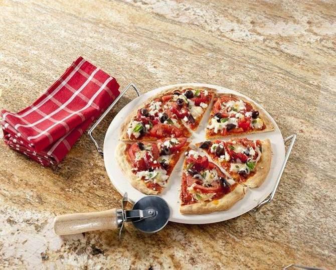 Kamień do pizzy + stojak + nóż Orion