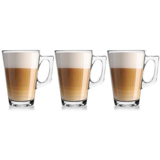 Komplet szklanek do latte / Szklanki z uchwytami 3szt x 250ml