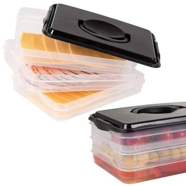 Pojemnik spożywczy 3 poziomy do sera, wędlin, warzyw / Lunchbox