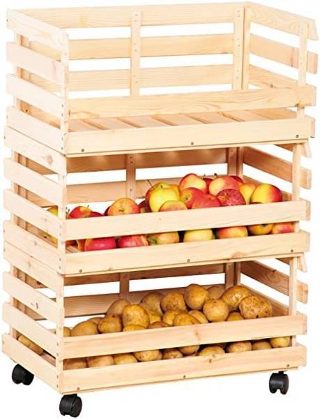 Półka kuchenna skrzynkowa na ziemniaki owoce 3 poziomy 37x80x30cm