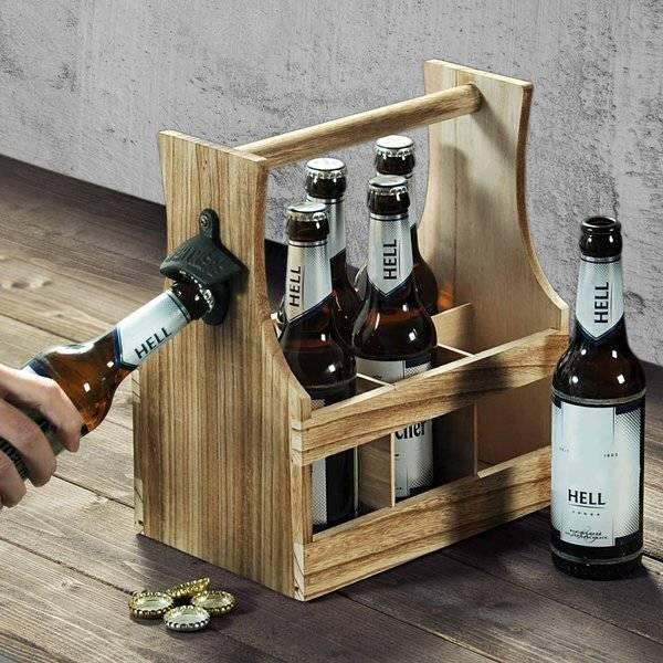 Skrzynka na piwo drewniana z otwieraczem - nosidełko 6 butelek
