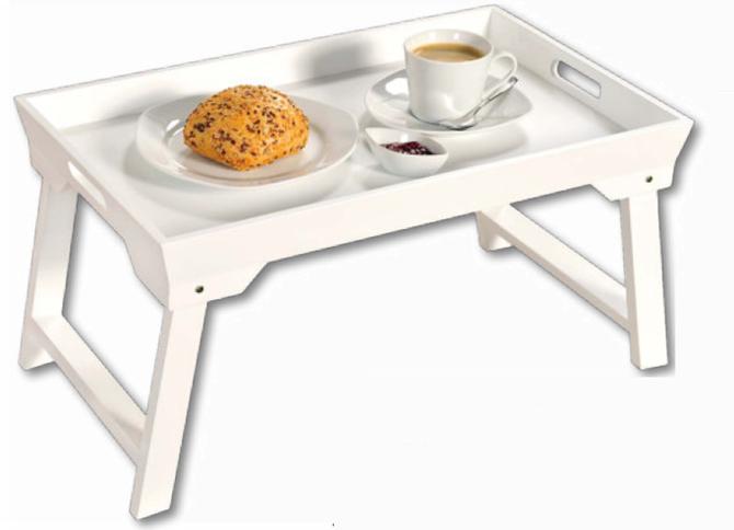 Stolik śniadaniowy biały, składany Kesper