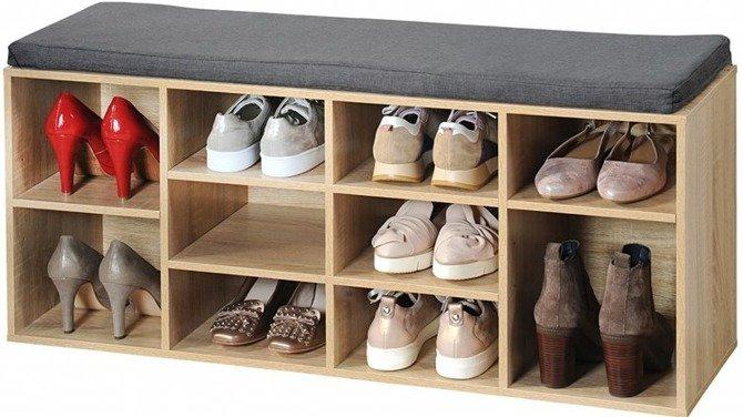 Szafka na buty z siedziskiem dąb sonoma Kesper 103,5x29,5x48cm