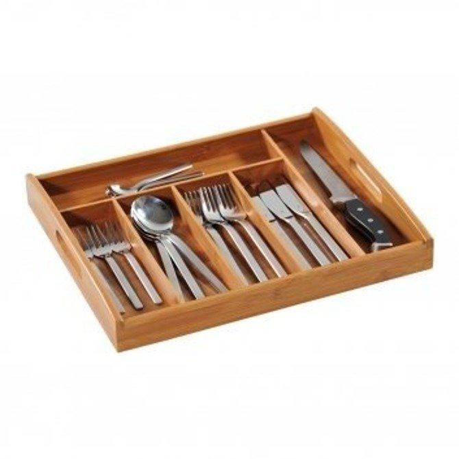 Wkład do szuflady na sztućce bambusowy Kesper 32-38cm / Organizer na przybory