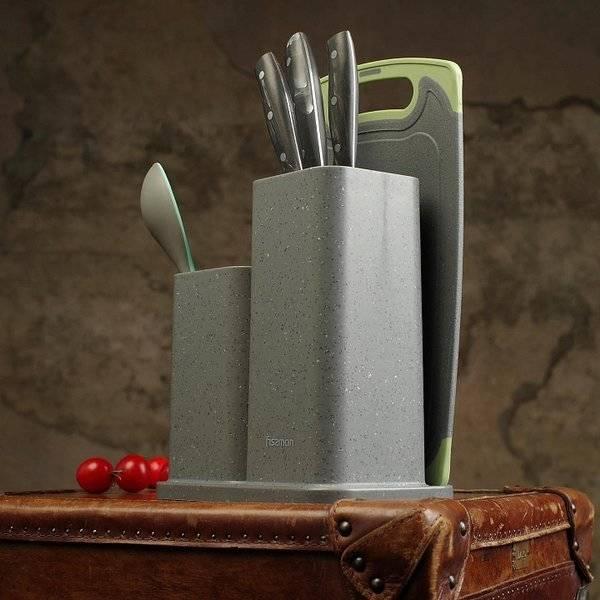 Zestaw 3w1 blok do noży, pojemnik do przyborów kuchennych i deska szary marmur Fissman