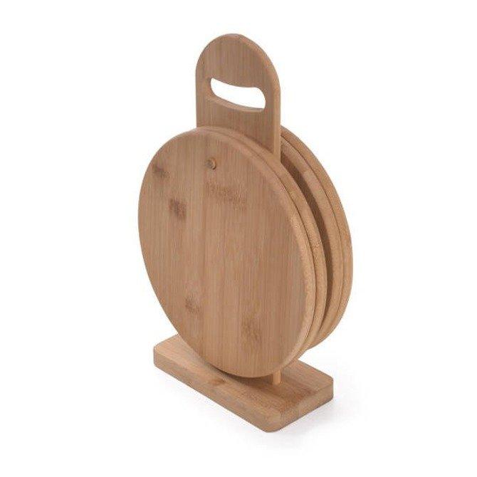 Zestaw okrągłych desek bambusowych 20cm Fissman 4szt na stojaku